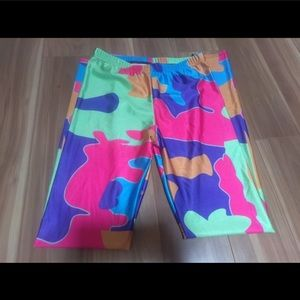 Pants - Colorful camo splatter clown silly leggings